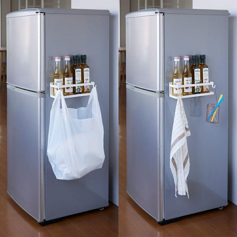 [マルチラック]調味料ボトル、キャニスターなど取り出しやすく収納。便利なフック2個付き。